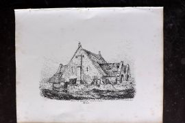 Anastatic Drawing Society 1858 Print. Barn at Doulting, Somerset